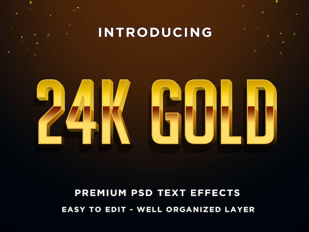 Effet de style de texte 3d premium en or 24 carats psd