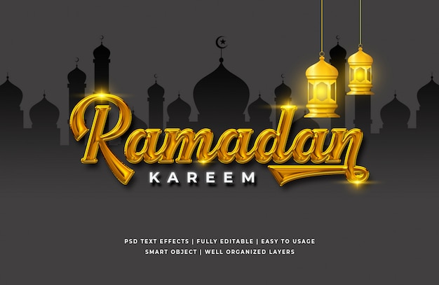 Effet de style de texte 3d ramadan kareem
