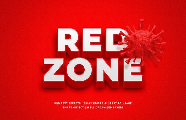 Effet de style de texte 3d red zone corona virus