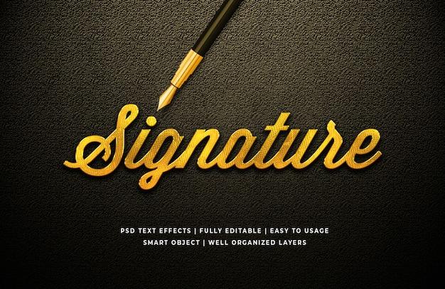 Effet de style de texte 3d signature