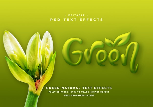 Effet de style de texte 3d vert éditable