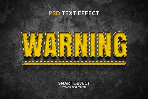 Effet de style de texte d'avertissement