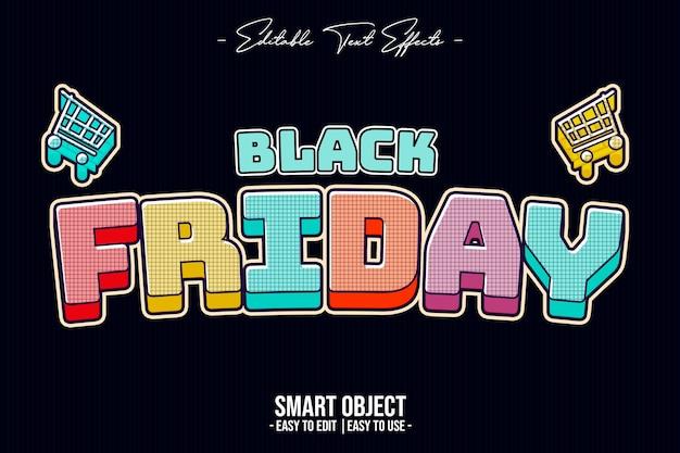 Effet de style de texte de couleur vendredi noir