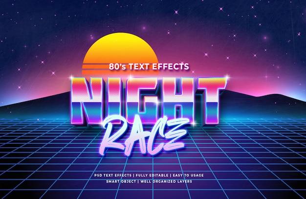 Effet de style de texte de course de nuit 3d