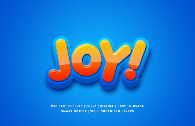 Effet de style de texte de dessin animé de joie 3d