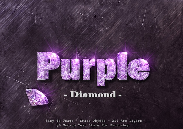 Effet de style de texte diamant violet 3d