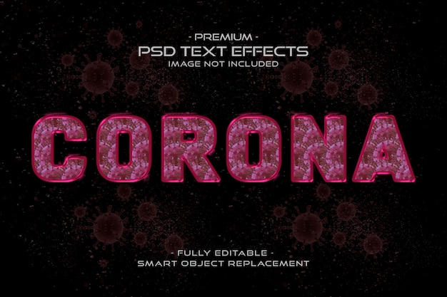 Effet de style de texte du virus corona rose
