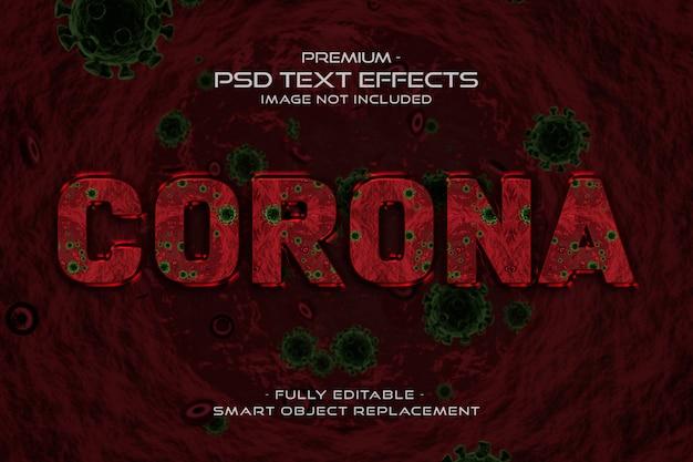 Effet de style de texte du virus corona rouge