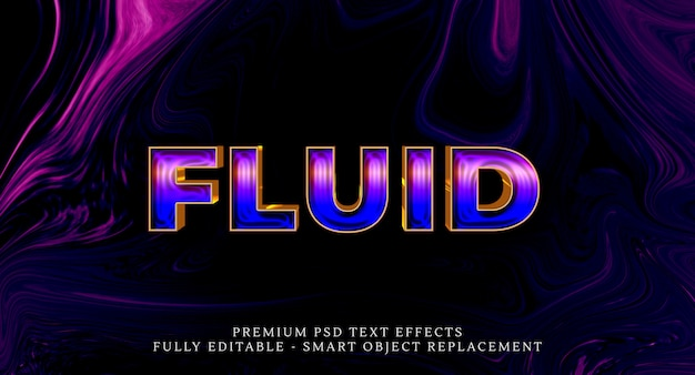 Effet de style de texte fluide psd, effets de texte psd