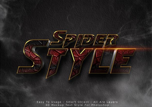 Effet de style de texte de maquette d'araignée 3d