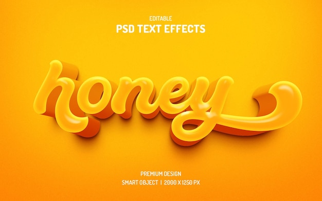 Effet de style de texte modifiable honey 3d