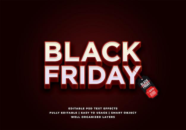 Effet de style de texte noir vendredi vente