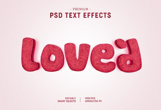 Effet de style de texte valentine aimé sur blanc