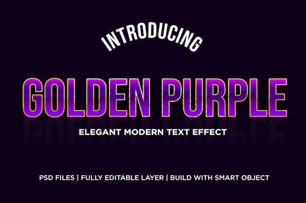 Effet de style de texte violet doré photoshop psd