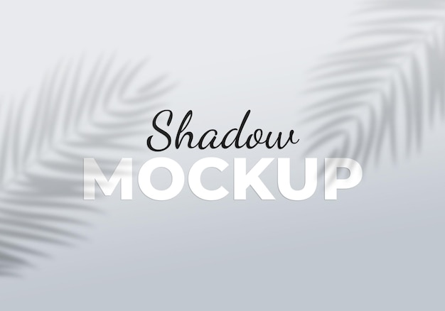 Effet de superposition grise de la maquette d'ombres transparentes avec des feuilles de palmier