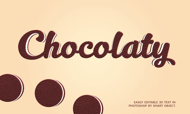 Effet de texte 3d chocolaty