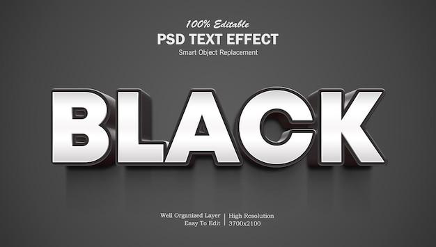 Effet de texte 3d de couleur noire modifiable