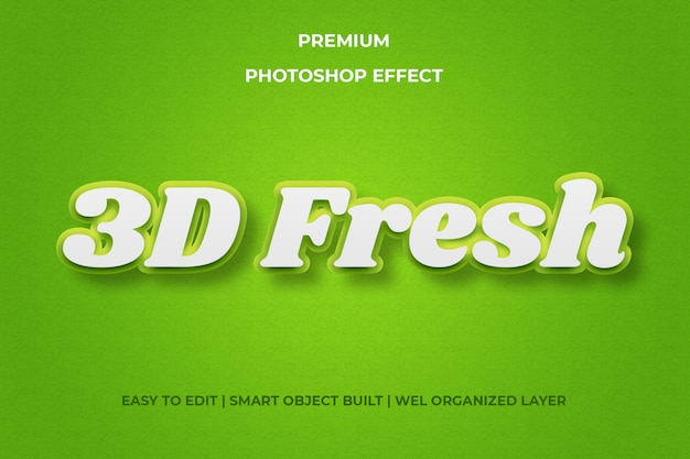Effet de texte 3d frais vert