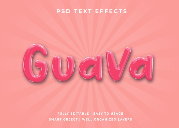 Effet de texte 3d goyave