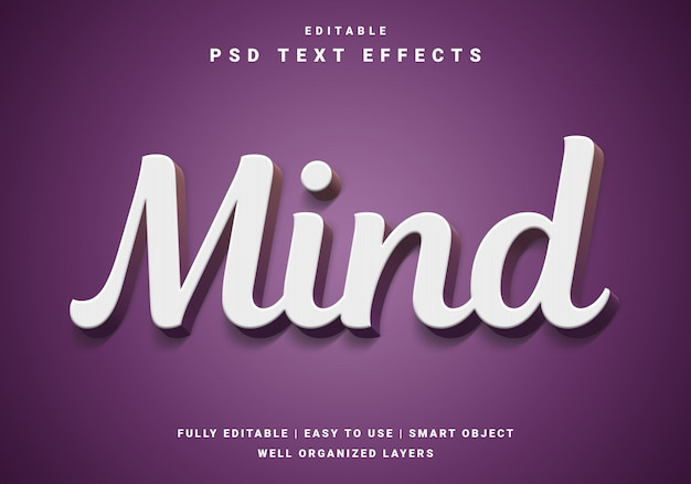 Effet de texte 3d mind moderne