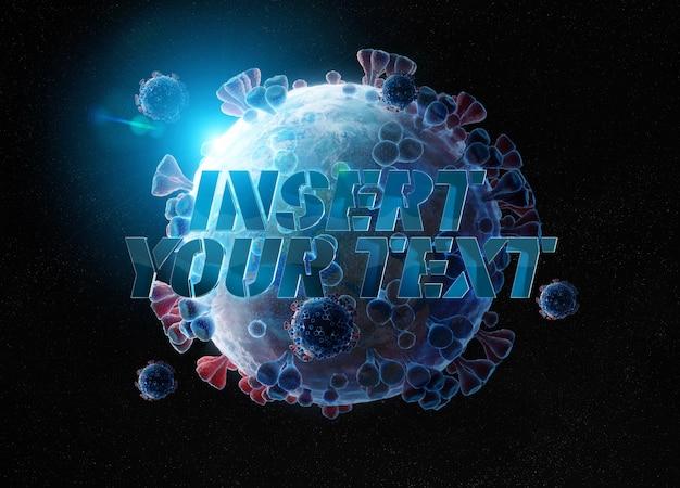 Effet de texte 3d avec la planète terre isolée en forme de coronavirus covid-19