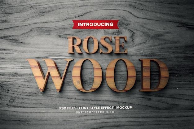 Effet de texte 3d premium en bois de rose