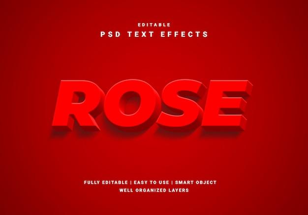 Effet de texte 3d rose rouge