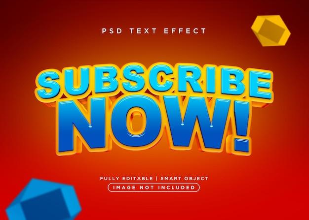 Effet de texte d'abonnement de style 3d