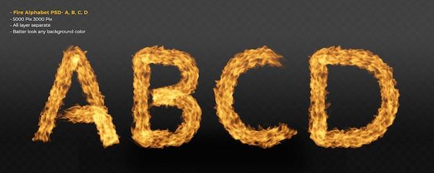 Effet de texte alphabet feu