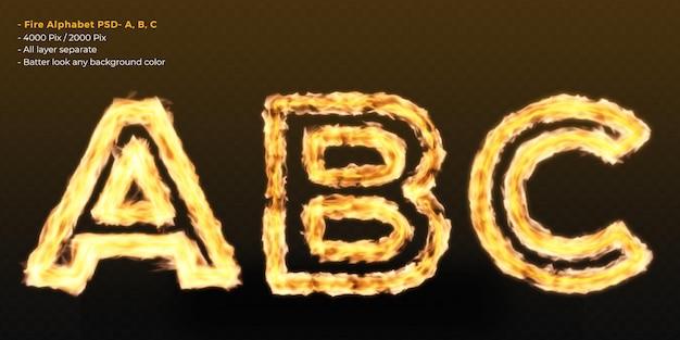 Effet De Texte Alphabet Feu PSD Premium