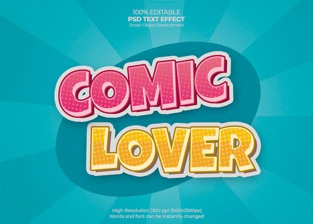 Effet de texte d'amant de bande dessinée