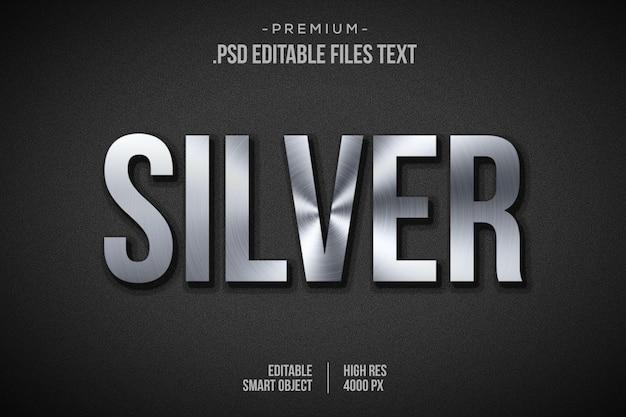 Effet de texte en argent, style de couche en argent 3d, maquette d'effet de style de police en argent 3d, effet de texte de style 3d argent brillant
