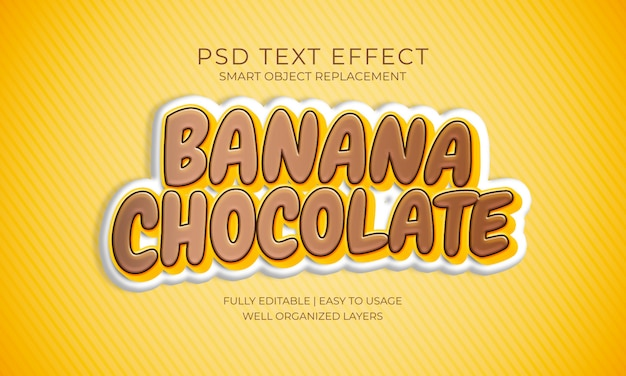 Effet de texte banane chocolat