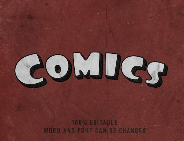 Effet de texte de bande dessinée affiche de style de couleur de police modifiable comique