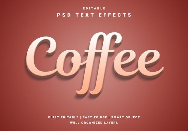 Effet de texte de café 3d moderne