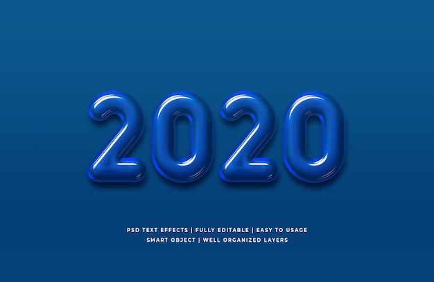 Effet de texte couleur 2020 de l'année