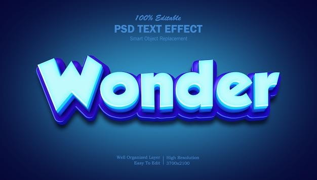 Effet de texte de couleur bleu merveille 3d