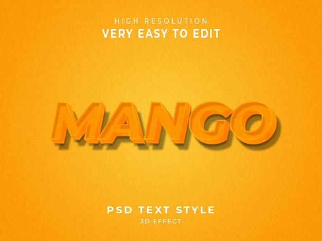 Effet de texte couleur mangue 3d