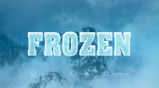 Effet de texte gelé à froid design effet de style de calque photoshop