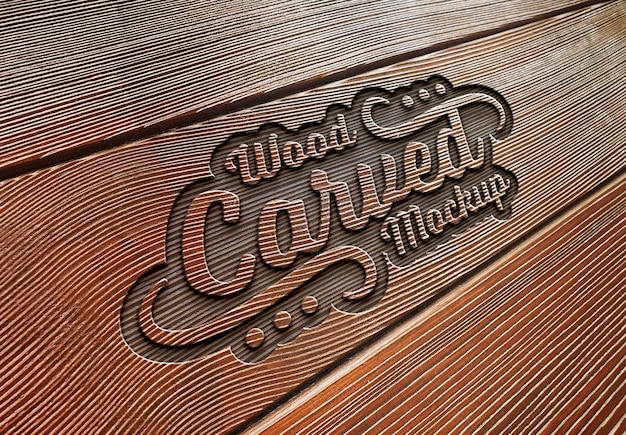 Effet de texte gravé sur la maquette de texture de planche de bois