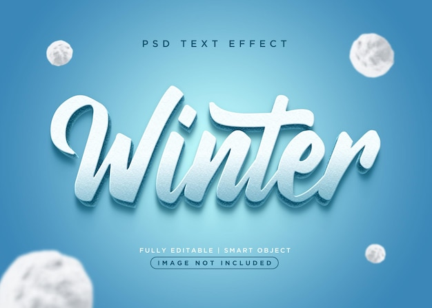 Effet de texte d'hiver de style 3d