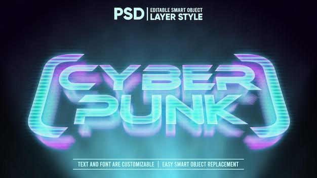 Effet de texte holographique cyberpunk 3d glow glitch modifiable style de calque objet intelligent