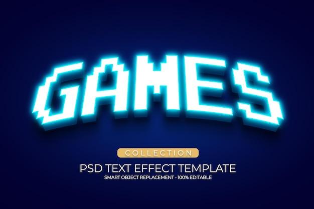 Effet de texte de jeux personnalisé avec une couleur bleu clair acrylique