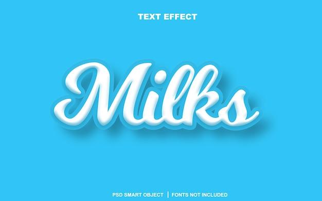Effet de texte de laits. objet intelligent texte modifiable