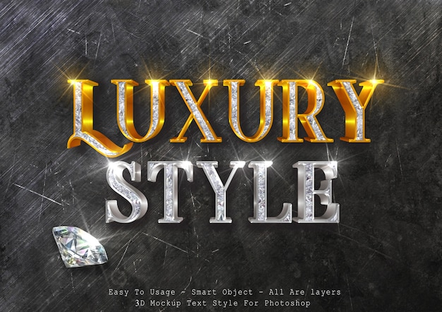 Effet de texte de maquette 3d de luxe