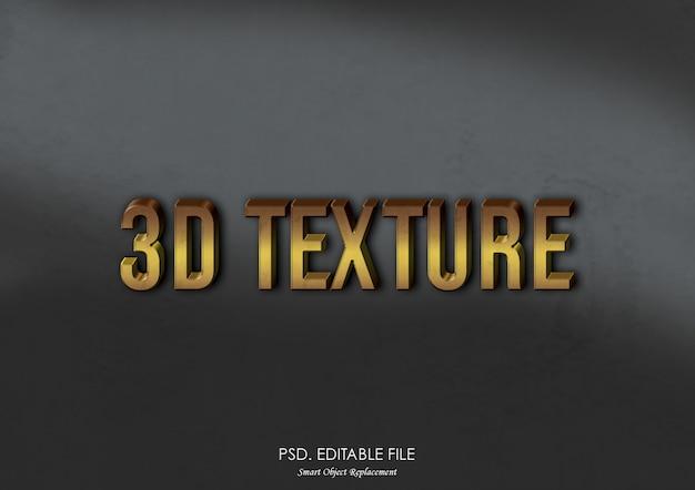 Effet de texte de maquette de texture de logo 3d