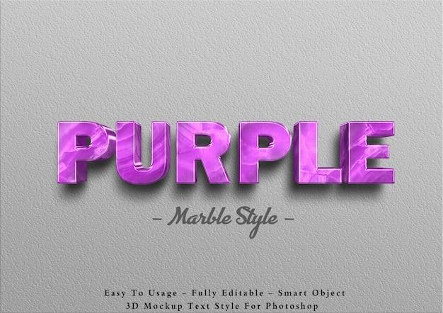 Effet de texte en marbre violet 3d sur le mur
