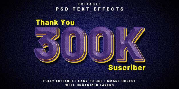 Effet de texte modifiable 3d style d'abonné 300k