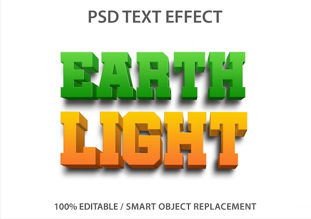 Effet de texte modifiable earth light