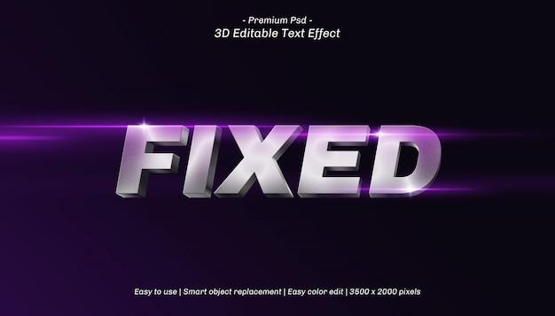 Effet de texte modifiable fixe 3d